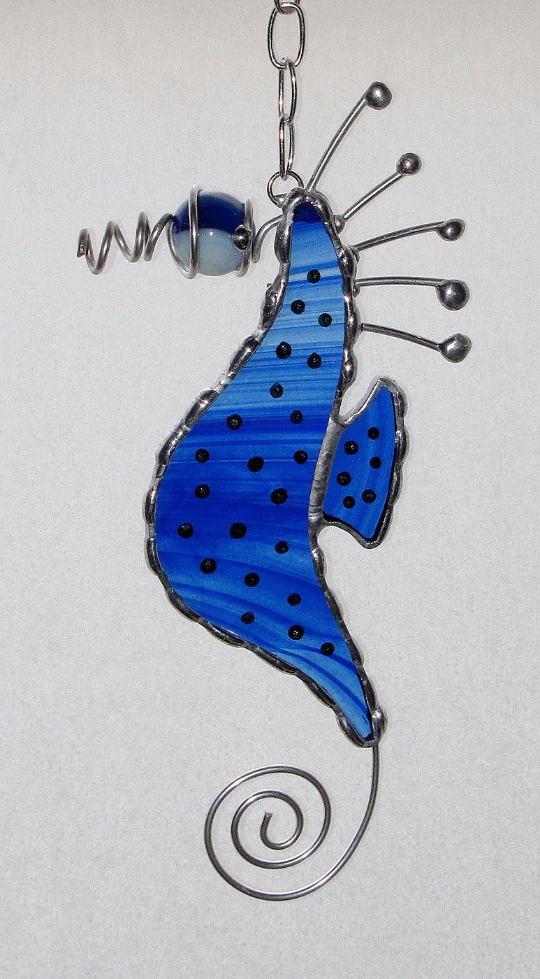 Stained Glass Suncatcher - Seahorse with Wire Tail and Marble Head ...