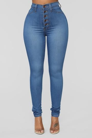 Classic Button Up Skinny Jeans - Medium Blue Wash