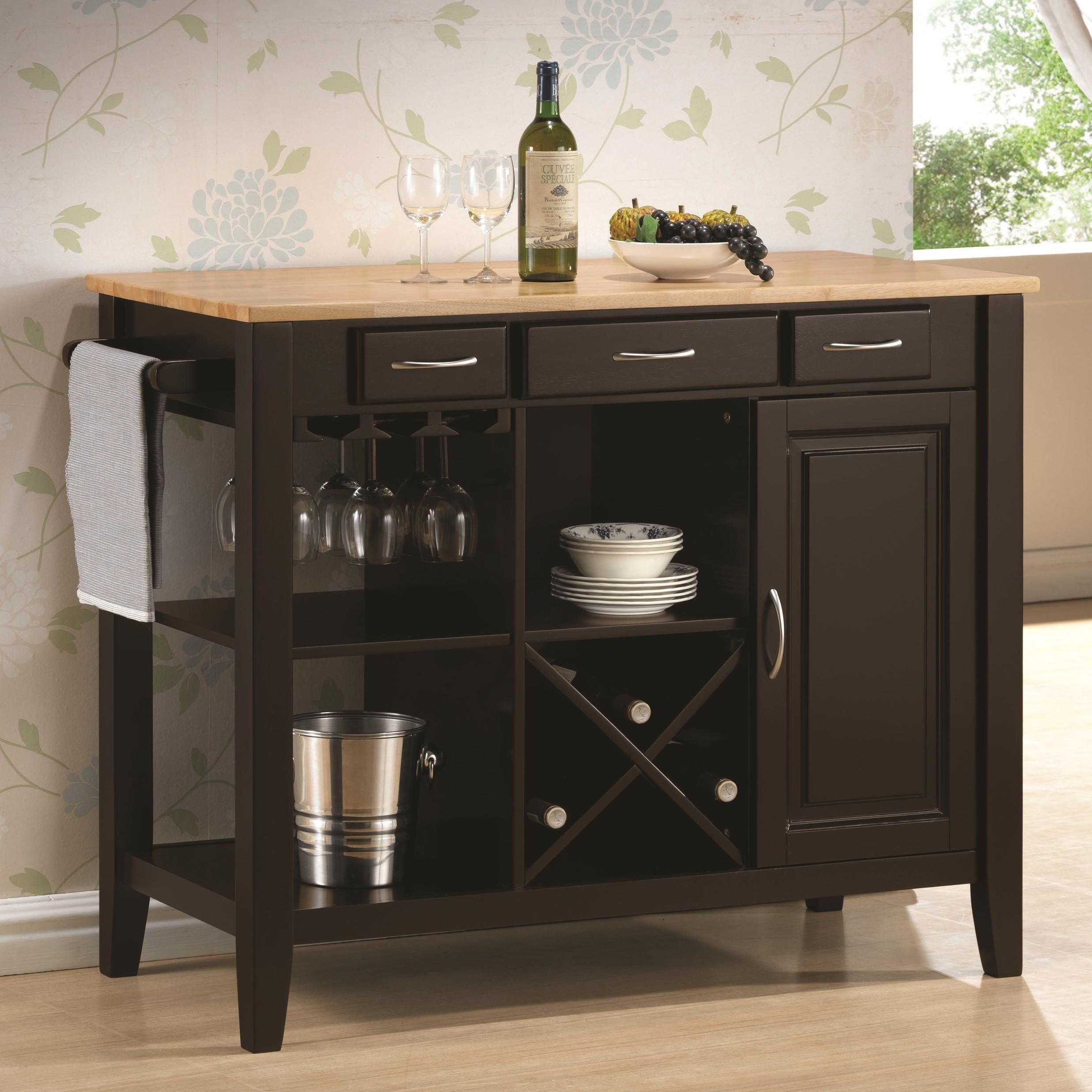 Kitchen Island with Solid Wood Butcher Block Surface and S