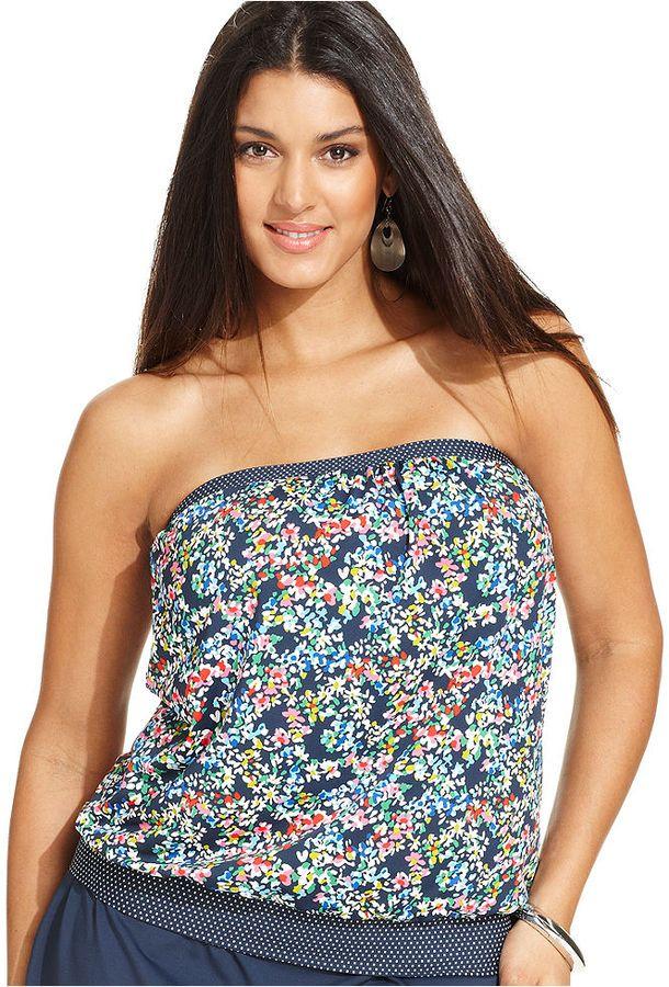 d416c2f0d23 Anne Cole Plus Size Floral-Dot-Print Blouson Tankini Top on shopstyle.com