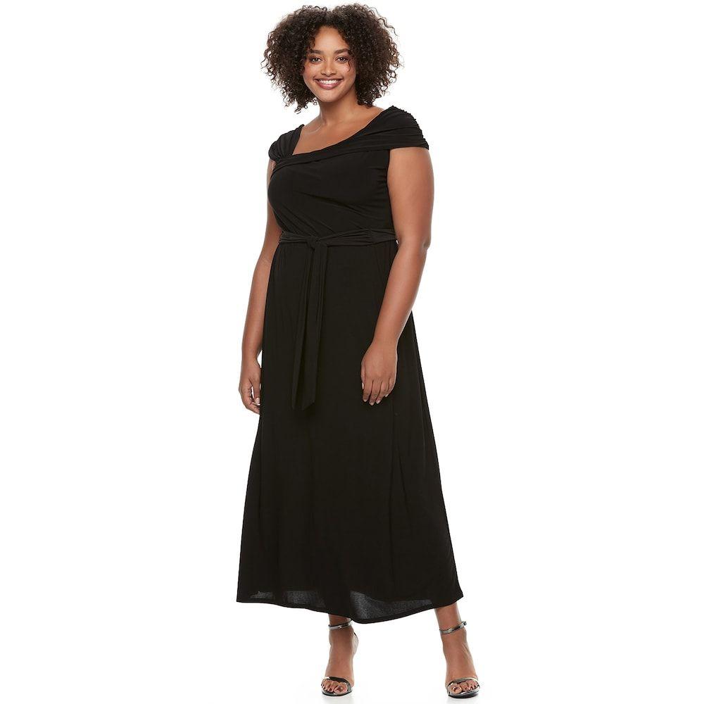 Juniors\' Plus Size Wrapper Asymmetrical Maxi Dress ...