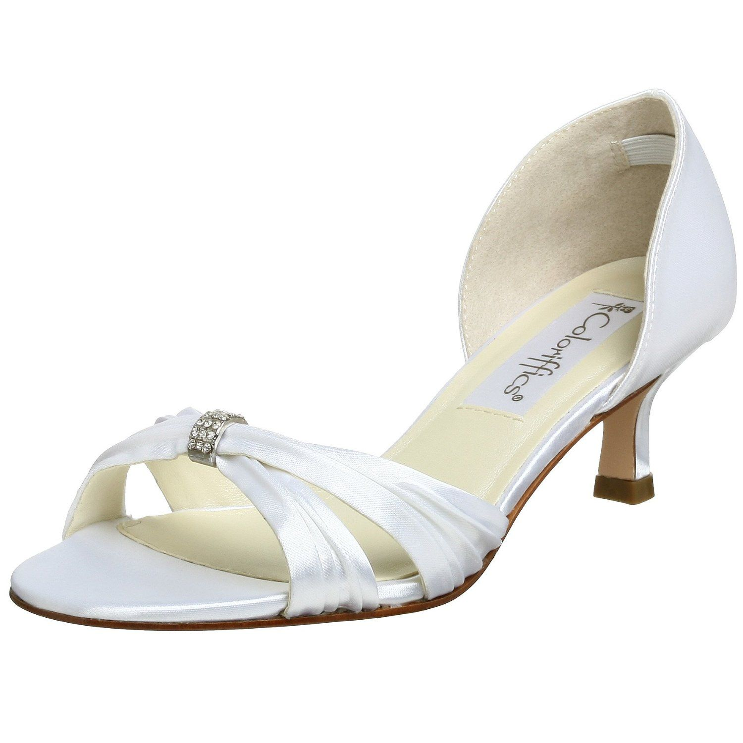 Coloriffics Women S Fantasy Sandal 1 Inch Heel Comfortable Heels Low Heel Ni A Sandal Shoes White Wedding Shoes Wedding Shoes
