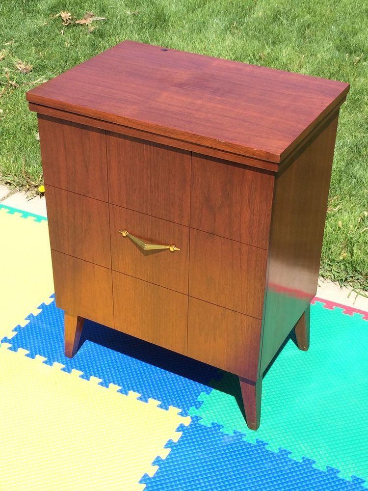 Vintage empty pfaff 362 sewing machine elevator wood cabinet table ...