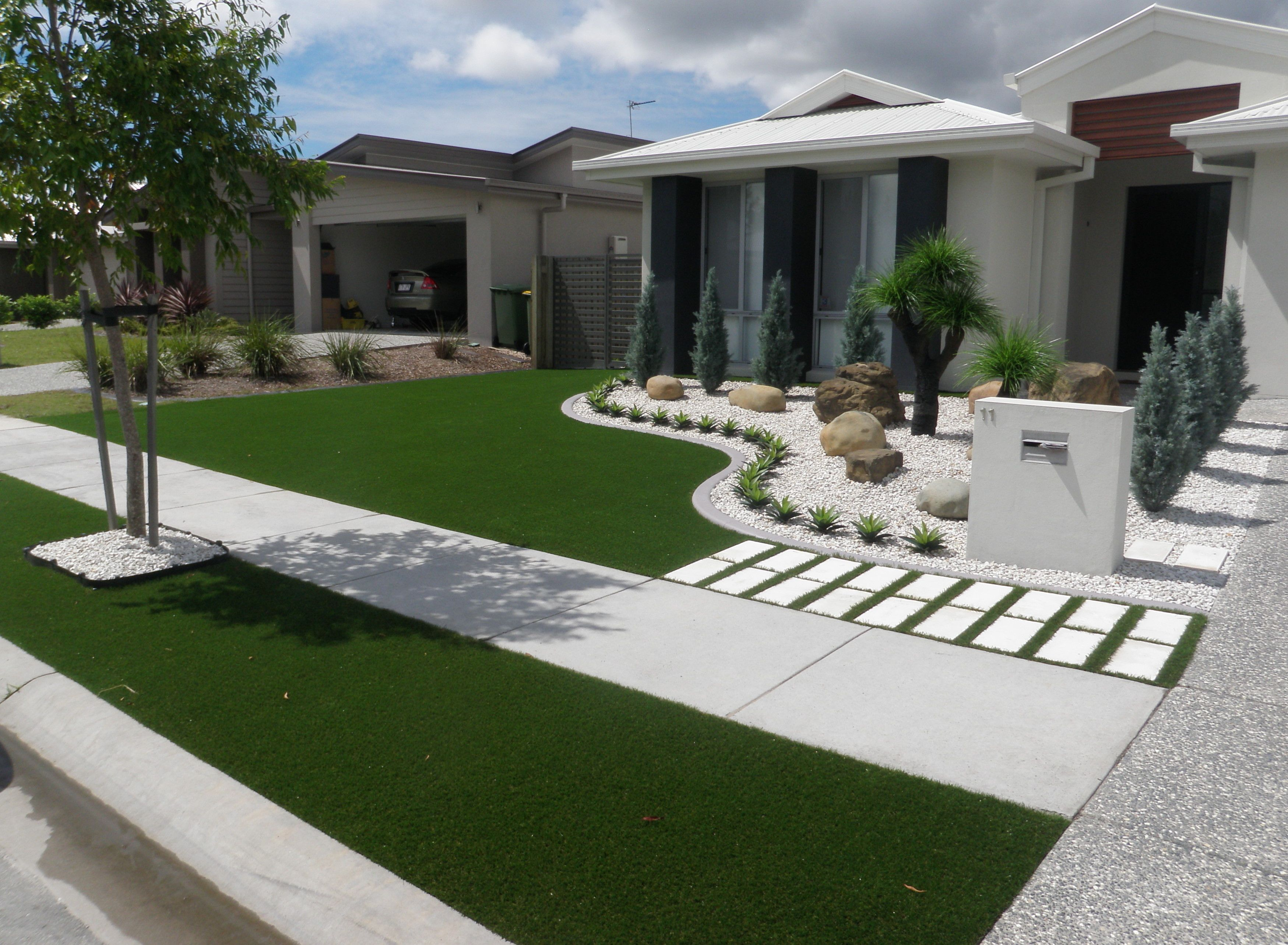 Synthetic grass front yard designs landscape yards for Home landscaping ideas