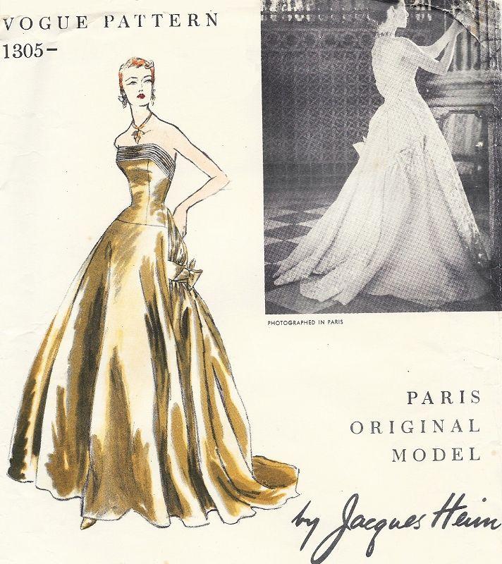 RARE 40s Jacques Heim GRAND Ball Gown Pattern VOGUE PARIS Original Cool Ball Gown Patterns