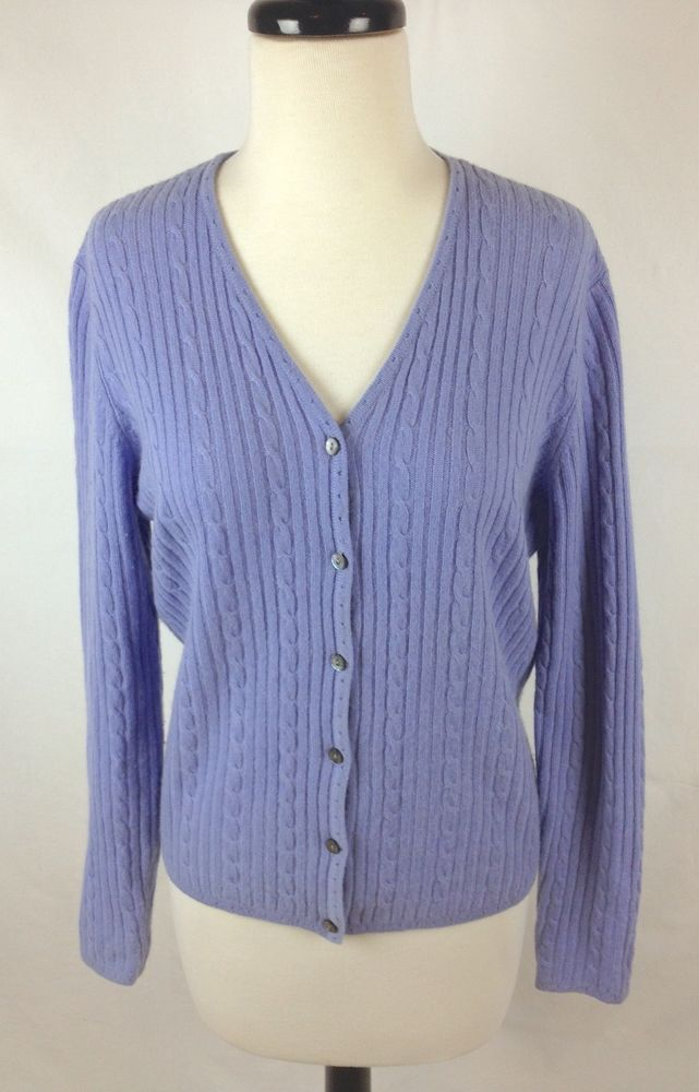 Valerie Stevens Cashmere Sweater Lavender Long Sleeve Cardigan ...