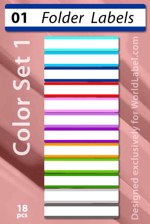 Basic colored printable file folder labels 2 sets to choose from at