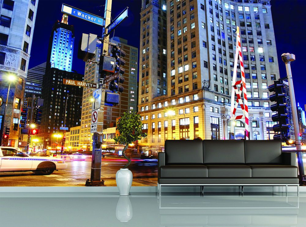 Downtown Chicago Night Street Life Photo Wallpapers