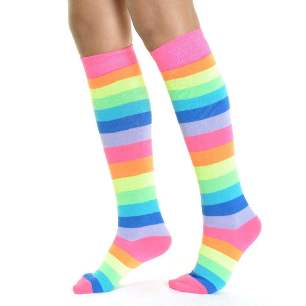 a80a391174f59 Angelina NEON Rainbow Striped Knee High Socks w/NonSkid Bottom  #BoysClothingCollection
