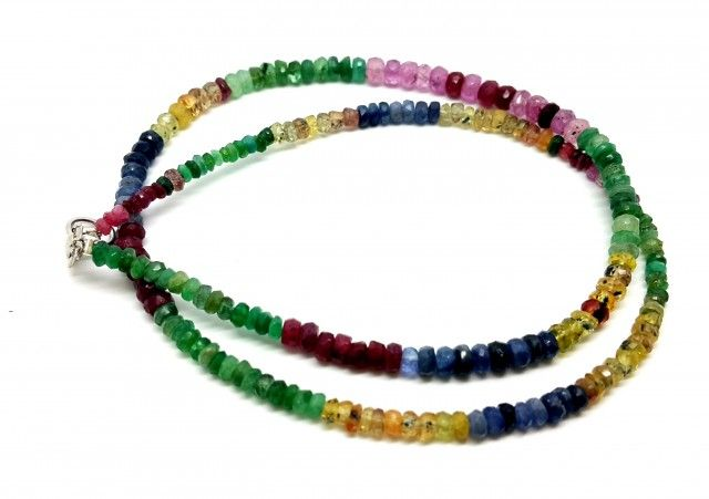 60 CT RUBIES , SAPPHIRE , EMERALD PRECIOUSE STONES BEADS NECKLACE 7  MIXED BEADS WITH SAPPHIRE,EMERALD AND OTHER PRECIOUS GEMSTONE BEDS, FROM GEMROCKAUCTIONS
