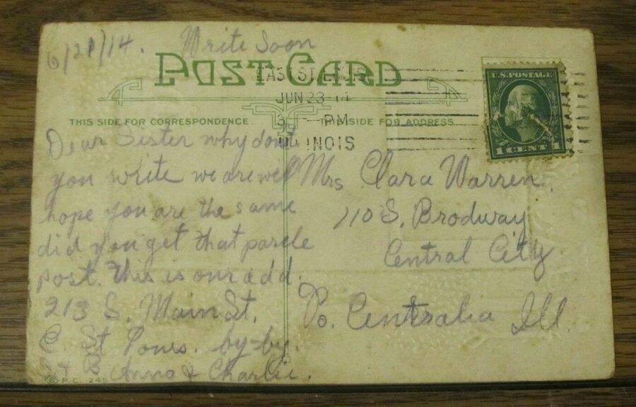1914 Vintage Postcard Valentine Clapper Woman Posted East St Louis Illinois Il Ad Ad Valentine Clapper Woman In 2020 Vintage Postcard Postcard Louis