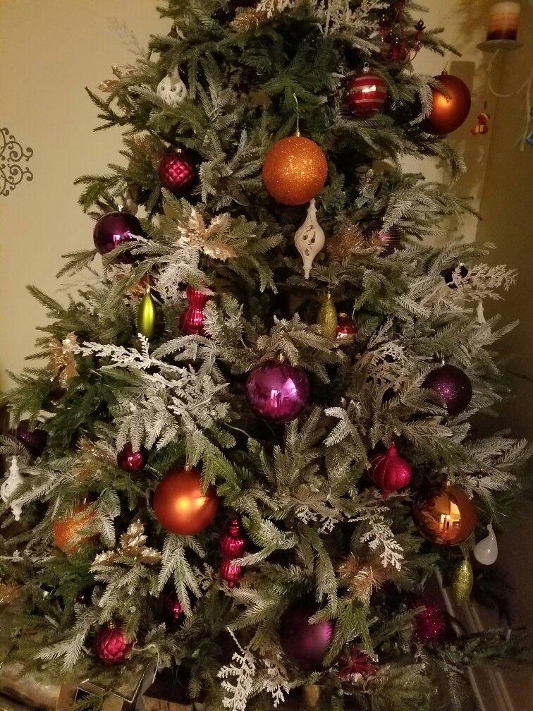 Christmas tree plum purple orange, lightly flocked ...