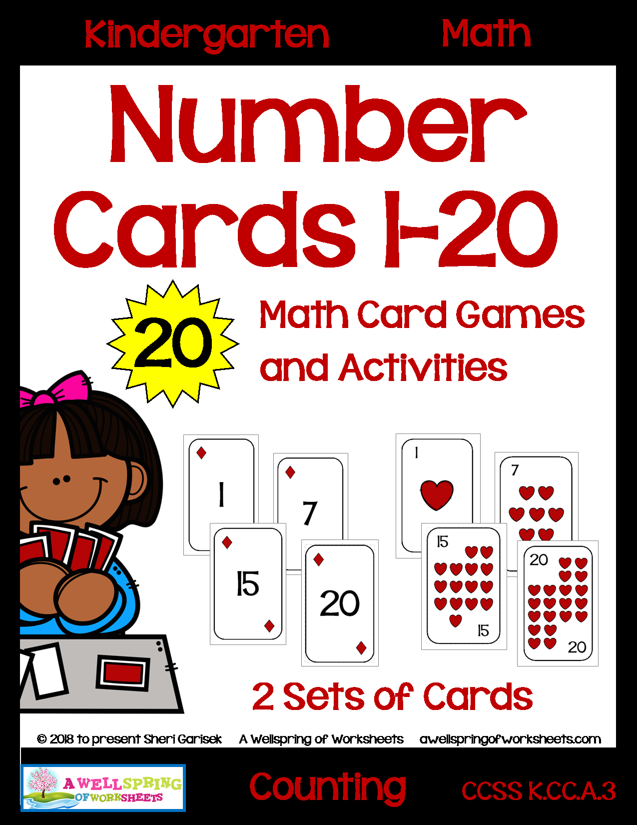 Number Cards 1 20 Decks Of Cards For Math Card Games