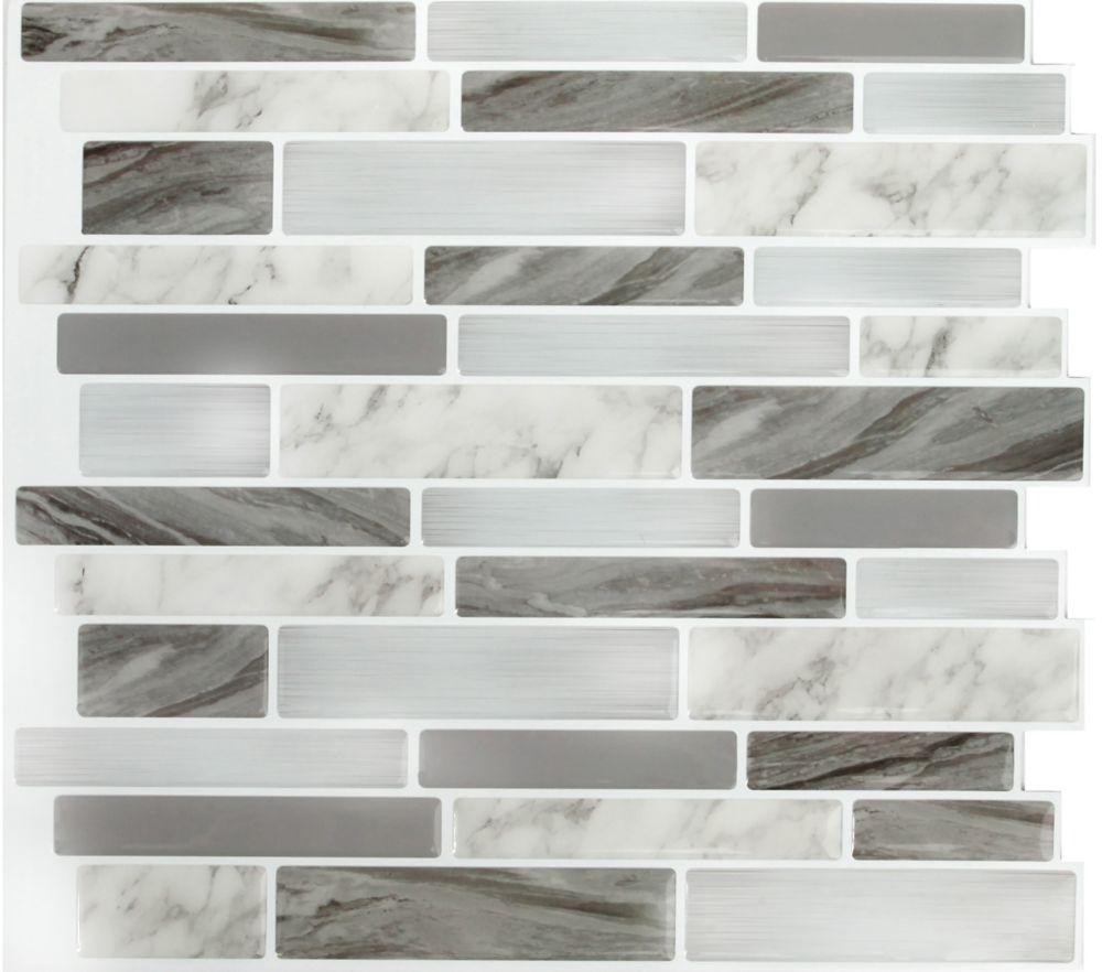 - Marble Grey OBL Peel And Stick It 11.25X10 4 Pack Tile