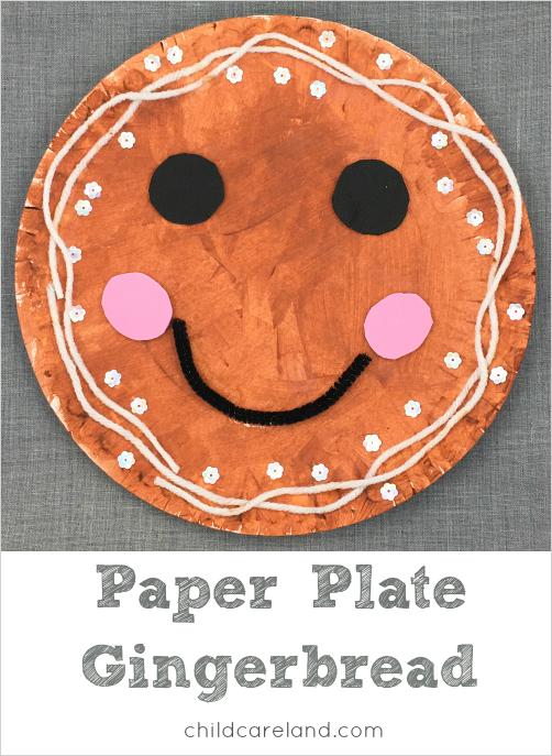 Paper plate gingerbread craft for preschool and kindergarten. Great for fine motor devleopment.