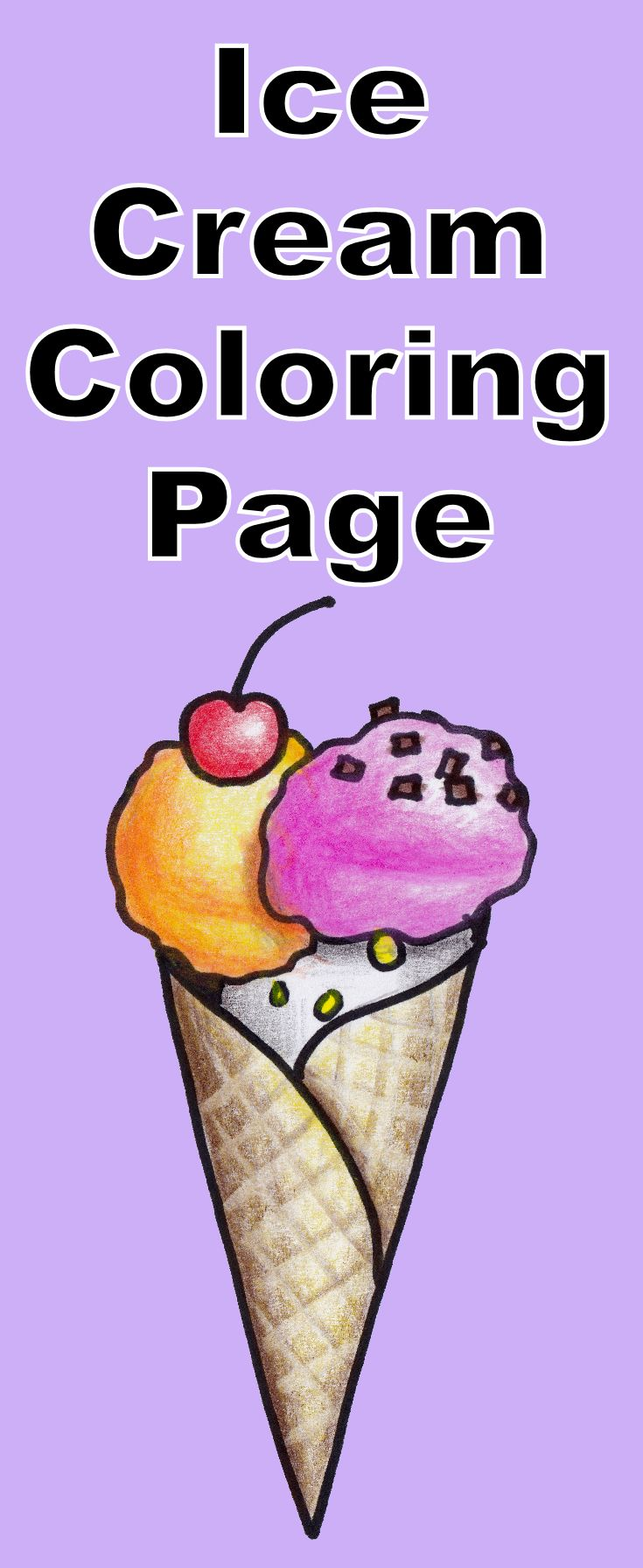 download this free waffle cone ice cream coloring page includes drawing tutorial too