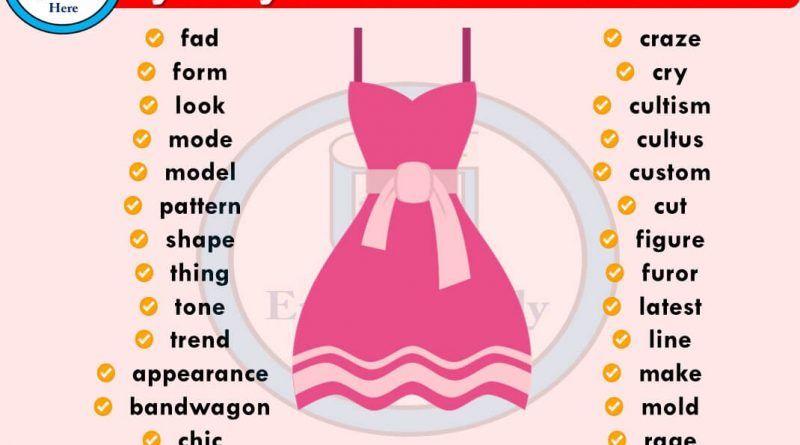 Synonym Words Related To Fashion Synonym Fashion Words