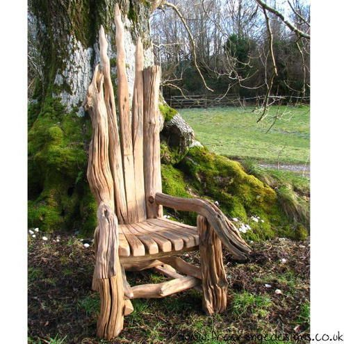 Giant story telling chair made from driftwood this is the for Design of ash pond