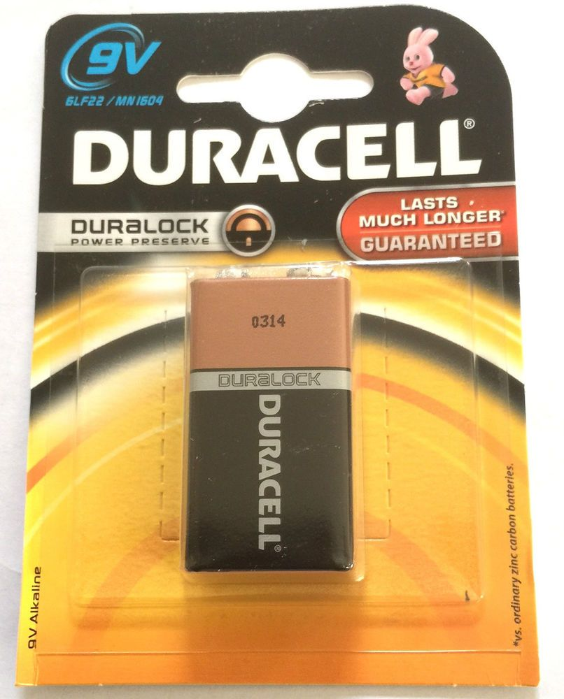 1 X Duracell Size 9V 6LR61 MN1604 Alkaline 'Square Block