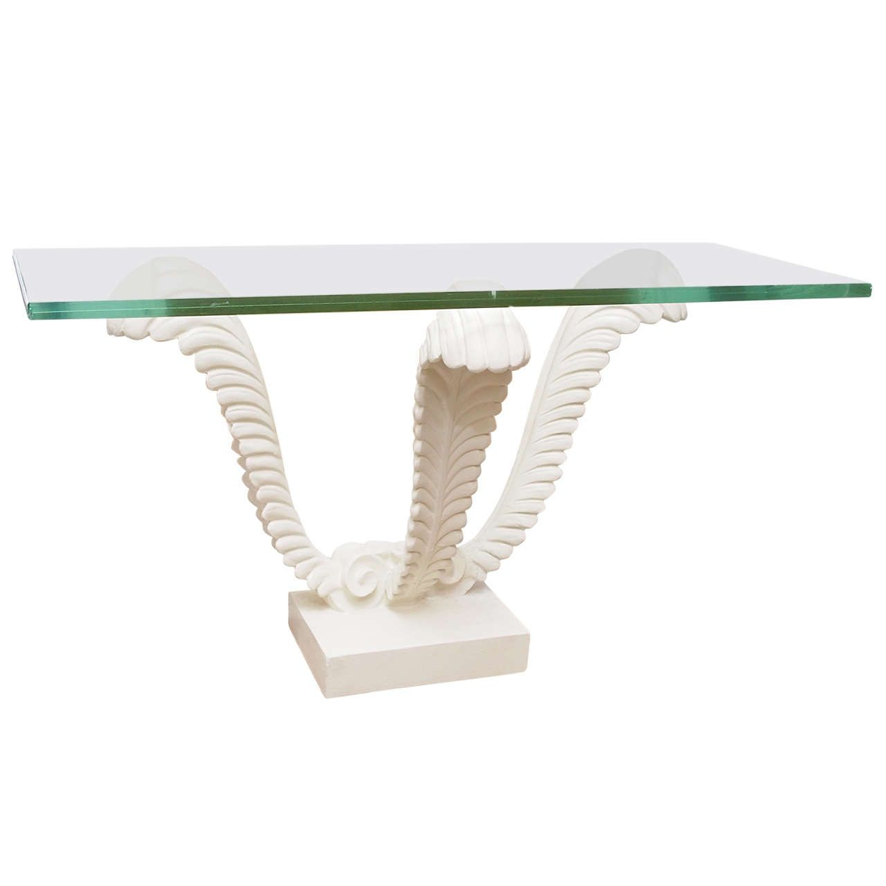 White Plaster Stand With Glass Top Console Table 1stdibs Com Console Table Table Glass Top