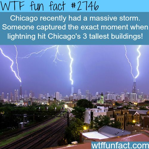 Lightning Striking Chicago S Three Tallest Buildings All At