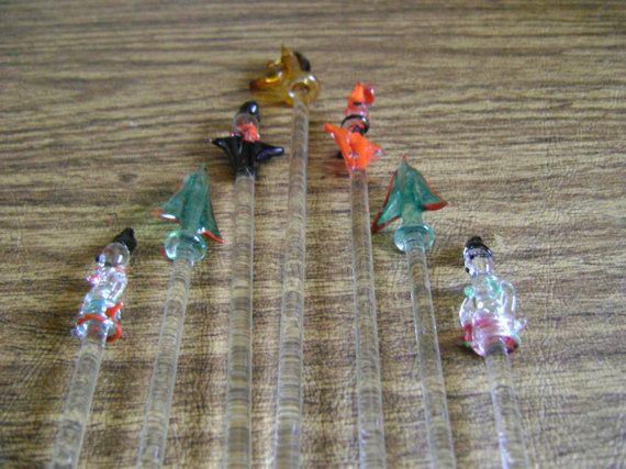 Vintage Glass Swizzle Sticks Glass Stirrers By Auntieannesgems Swizzle Sticks Swizzle Stick