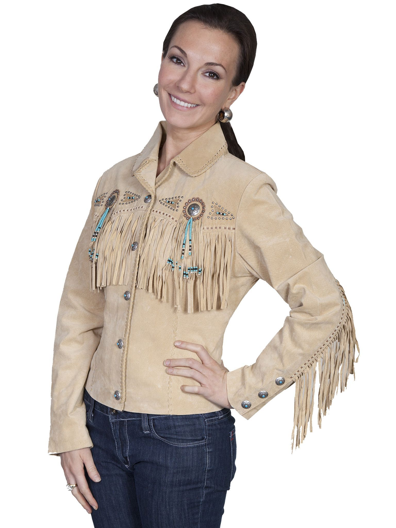 cb8f339b14be Scully Leather Womens Beaded Fringe Conchos Boar Suede Jacket Chamois