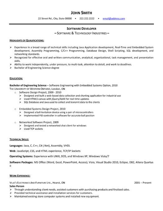 click here to download this software developer resume template httpwww - Developer Resume Template