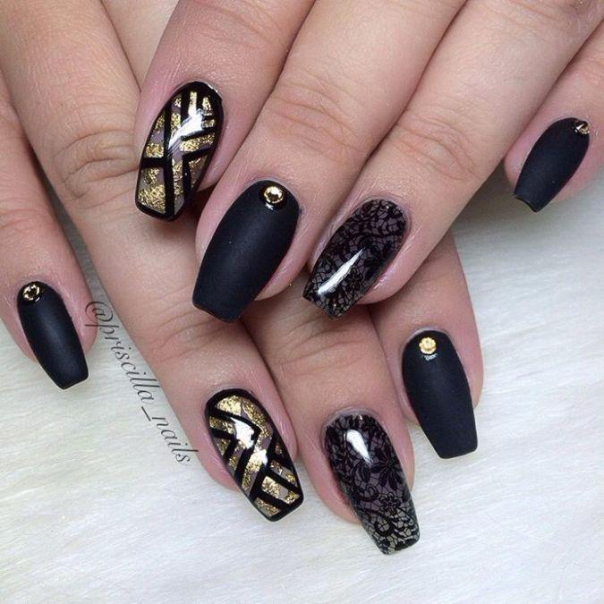 Glamorous Black and Gold Nail Designs | Gold nail, Negative space ...
