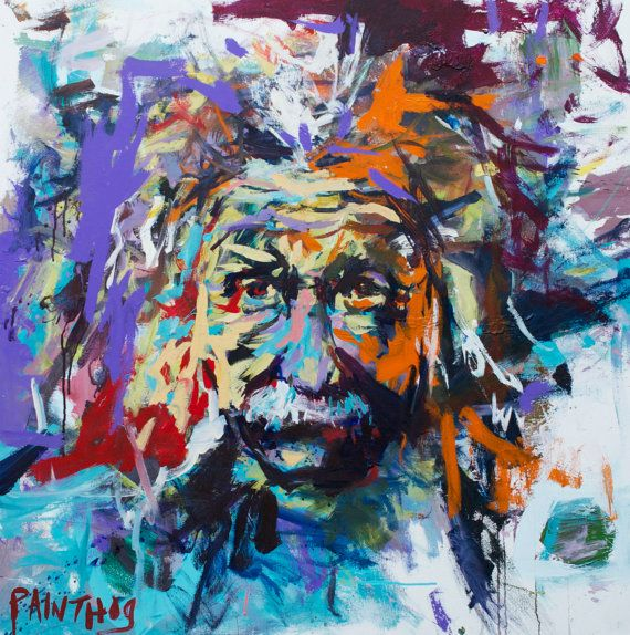 Original Large Abstract Albert Einstein Painting On By