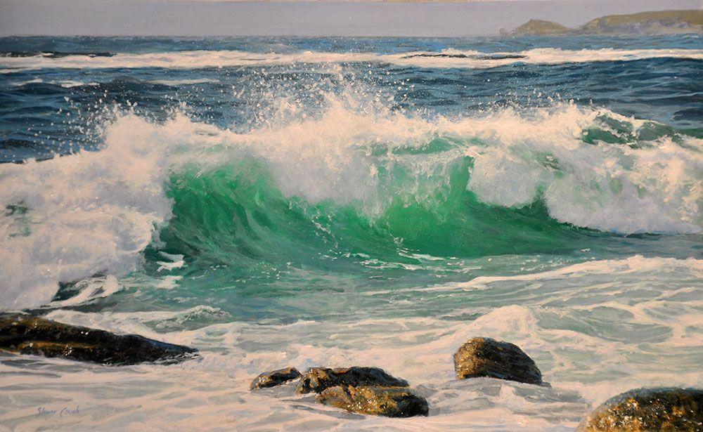 Great Realism Water Crashing On Rocks Painting Surf Painting Ocean Painting Wave Painting