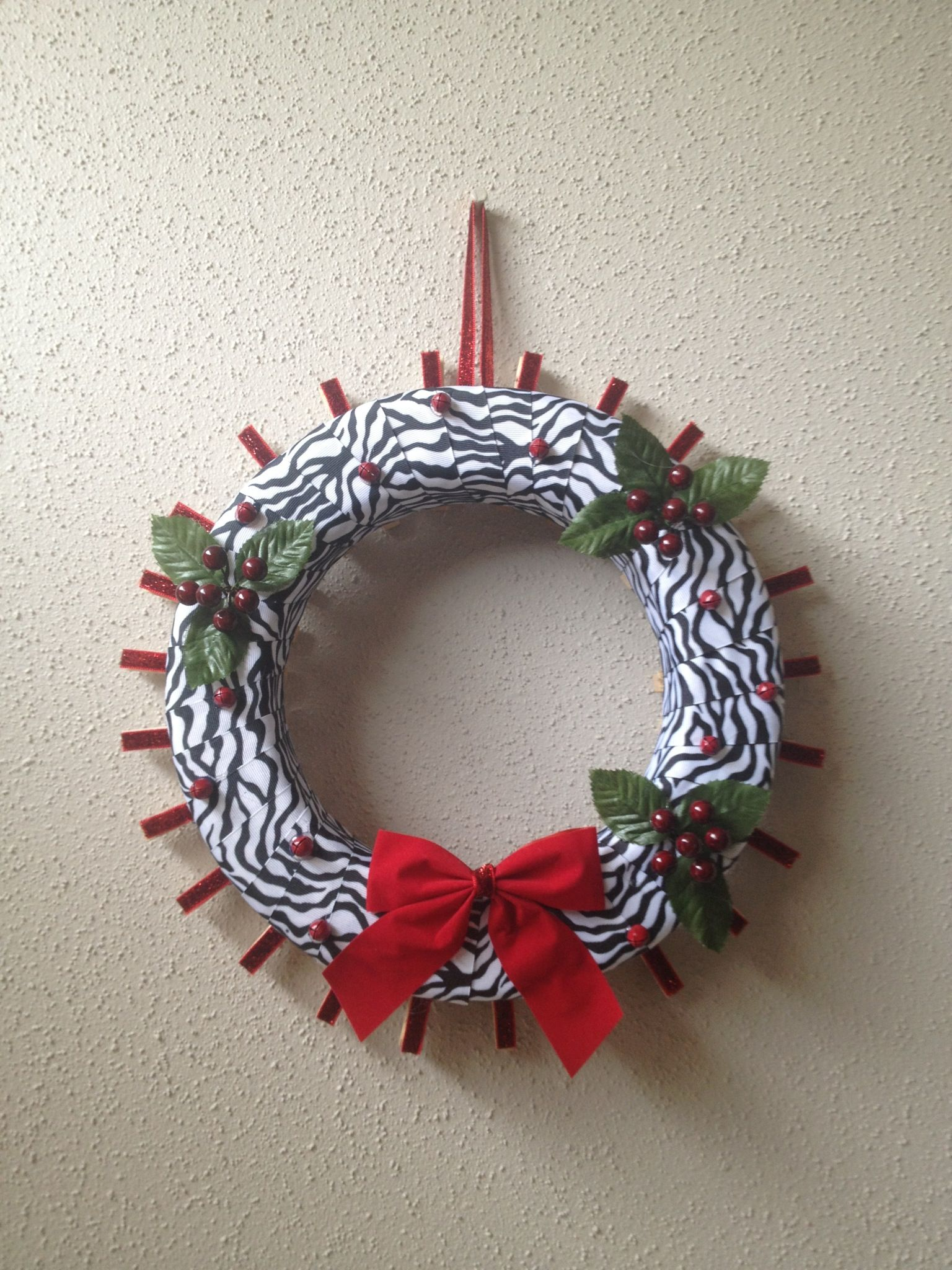 Zebra christmas card holder wreath I made for patience\'s teacher ...