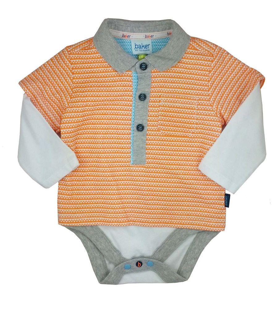 c1490339a Ted Baker Baby Boys Polo Vest Romper Bodysuit Orange Designer 6-9 Months