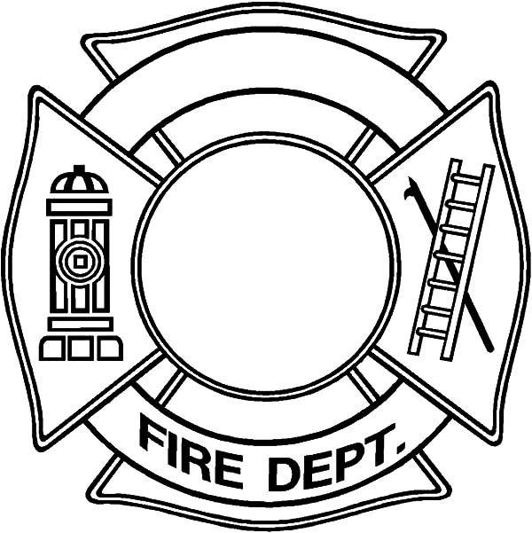 blank badge for maltese cross coloring pages firefighter badge
