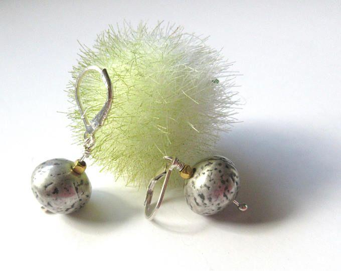 925 Sterling Silver Earrings, Dotted Silver Dangle Earrings, Gifts For Women, Light And Short Earrings For Her, Lever Back Earrings.