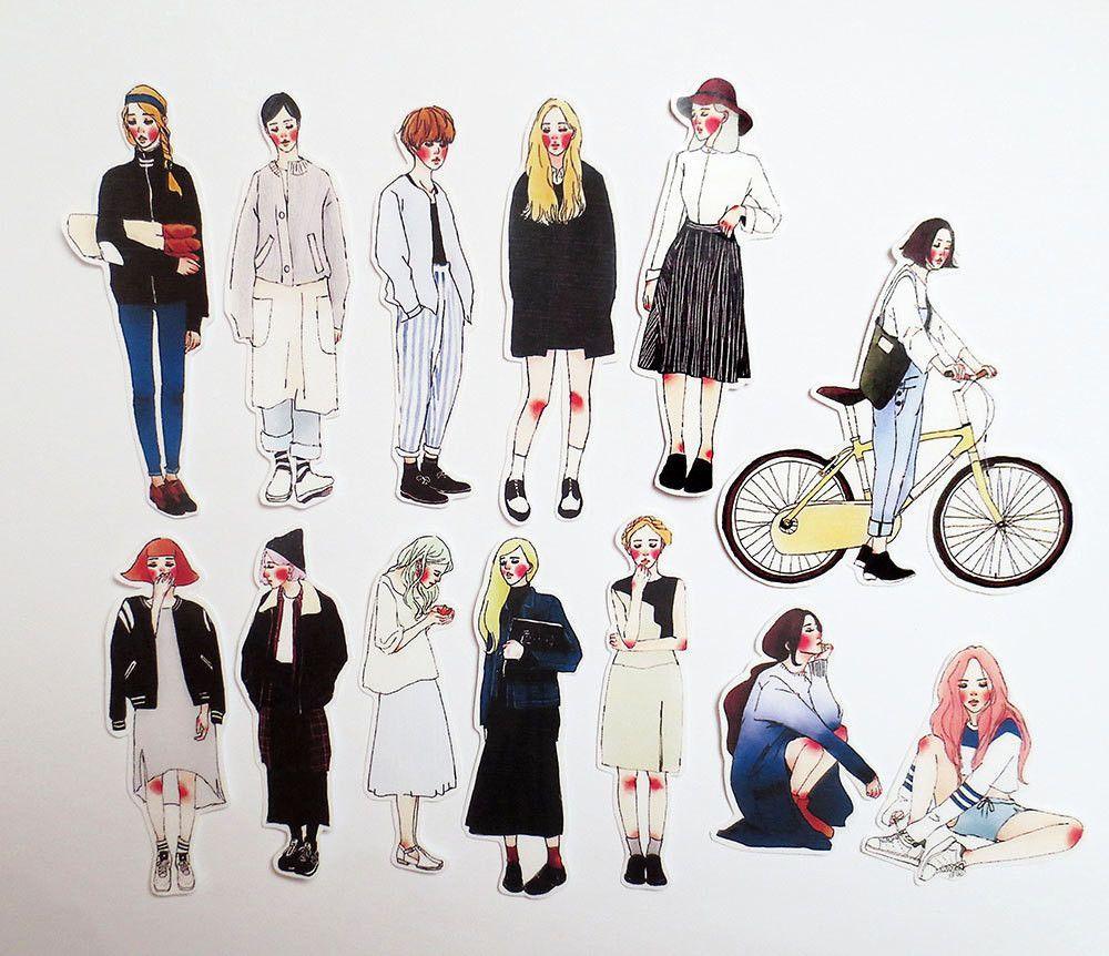 La Dolce Vita Sticker Pack, Planner Stickers, Fashion Model Scrapbook Sticker Set