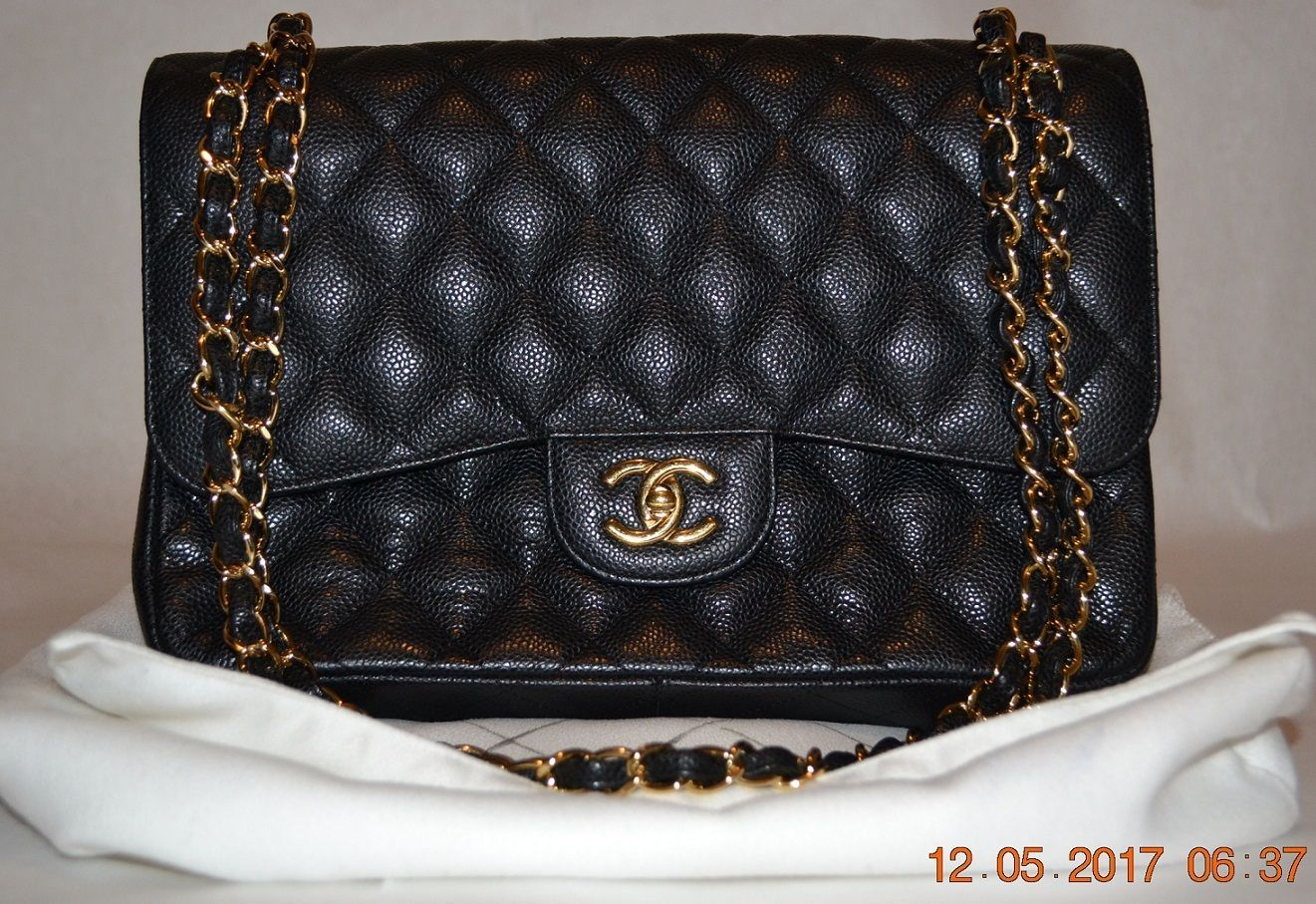 0da171ed591b COA Pictured Authentic Genuine CHANEL Caviar Gold Classic Double Flap   3500.0