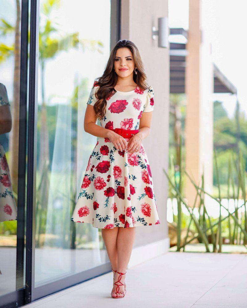 1270322b20 Vestido Midi Rosas Manguinha Princesa - Moda Evangélica - Flor de Amêndoa