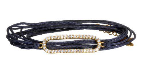 SKU Jewelry Blue Cord Wrap Sterling Silver Hamsa Bracelet