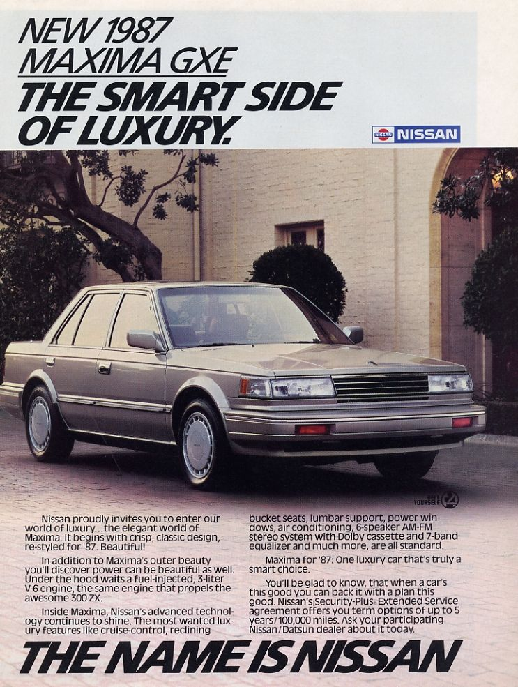 1987 Nissan Maxima Ad #hoseltonsellsnissans www ...