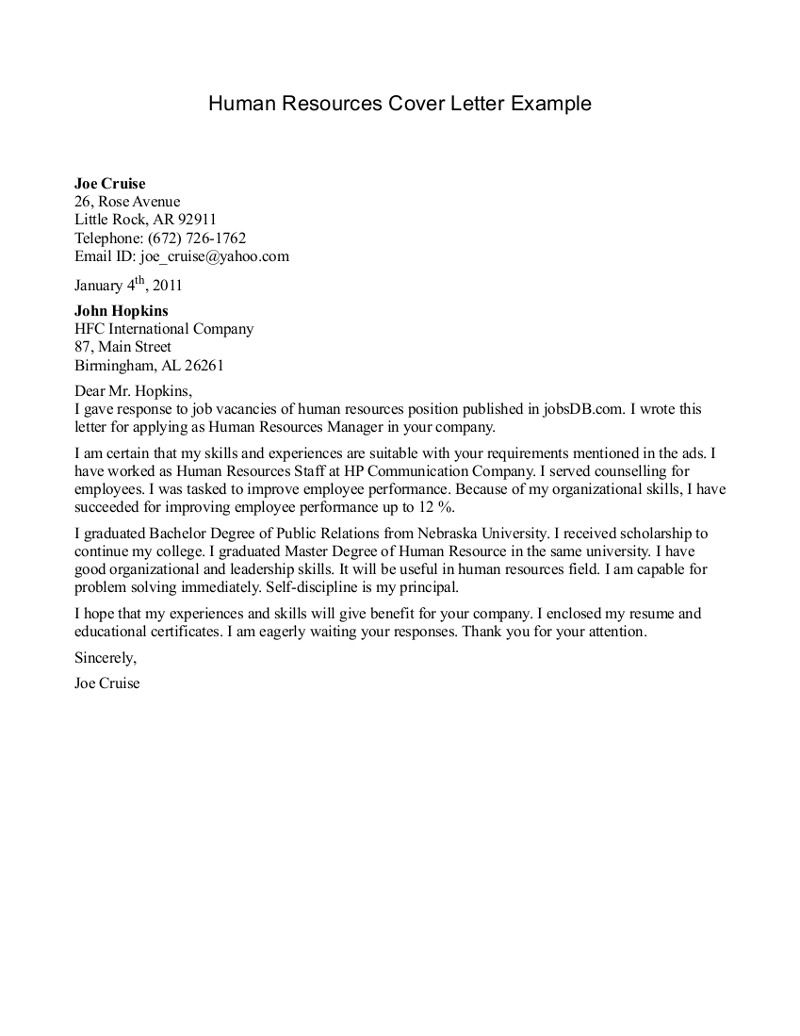 Human Resources Cover Letter Writing A Cover Letter For Executive Assistanta Cover Letter Is