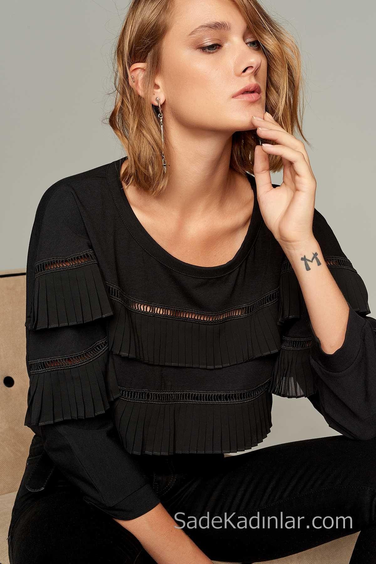 Sik Kombinler Icin 2020 Bluz Modelleri Siyah Yuvarlak Yaka Puskul Detayli Bluz Afrika Modasi Bluz Modelleri