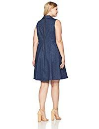2cb81c98dec32 Women s Plus Size Sleeveless Collared Denim Fit and Flare Dress ...
