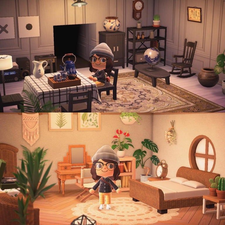 Just finished my living room and bedroom!! Had to share ... on Animal Crossing New Horizon Living Room Ideas  id=85635