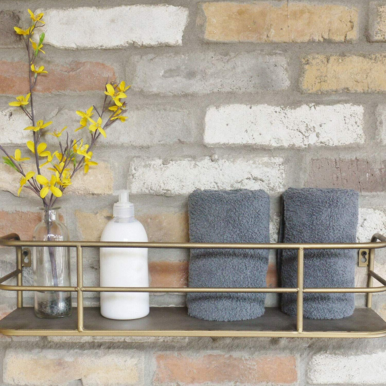 Darthome Ltd Industrial Gold Bathroom Wall Shelving Wooden Shelf