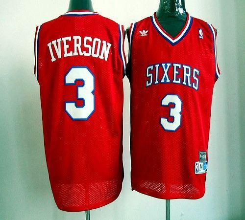 554055764d4 76ers  3 Allen Iverson Red Throwback Stitched NBA Jersey