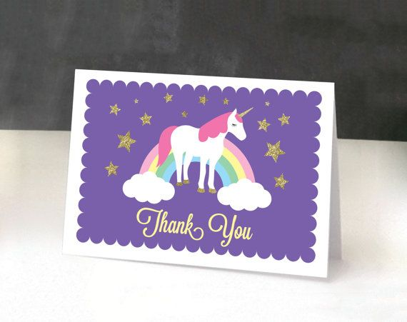Printable Rainbow Birthday Invitations ~ Unicorn birthday thank you card diy printable unicorn party