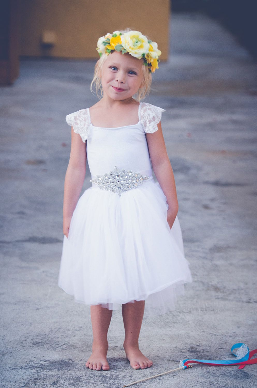 Flower Girl Dress With Diamond Belt White Simple Flower Girl Dress