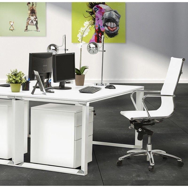 Le Bureau Droit Design Bouny En Bois Blanc Vous Permettra De Travailler Dans Un Espace Serein Et Une Ambiance Zen Bureau Bois Bureau Droit Bureau