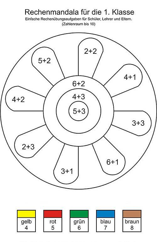 rechenmandala f e die erste klasse einfache plusaufgaben und rechenaufgabe mathematik. Black Bedroom Furniture Sets. Home Design Ideas